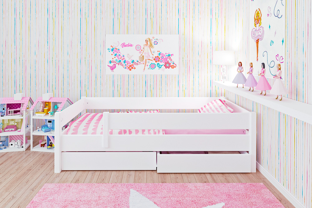 Weiß Lackiertes Kinderbett Kinto Basic Aus Holz Inklusive Lattenrost