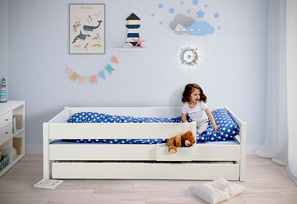 Weiß Lackiertes Kinderbett Kinto Mit Gästebett Und Inkl 2 Lattenrosten