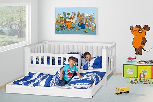 Kinderbett LISTO, weiß lackiert, mit Gästebett / SALTO Kinderbetten, München