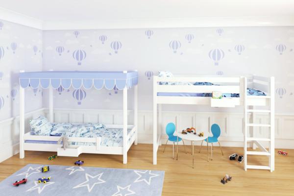 das mitwachsende Kinderbett PICCO 200 aus massivem Buchenholz ist erst ein Himmelbett und später ein Hochbett. Hersteller: SALTO - Möbel für Kinder in München