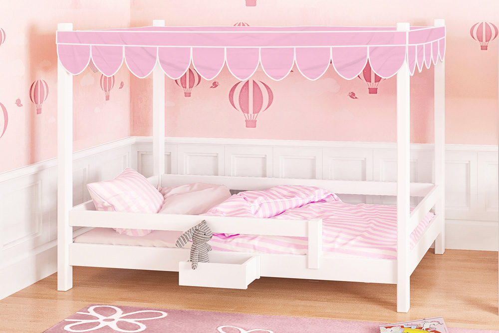 mitwachsendes Kinderbett PICCO /massives Buchenholz, weiss lackiert / SALTO Kinderbetten München