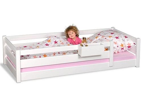 Kinderbett PICCO 200cm weiß: das Montessori-Kinderbett, aus Buchenholz