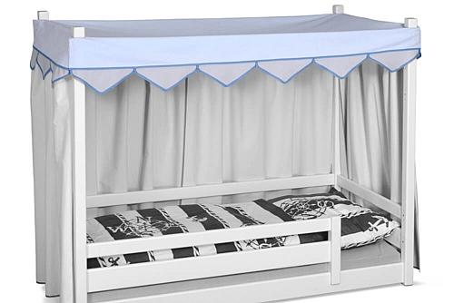 himmelblauer Betthimmel für das mitwachsende Kinderbett PICCO