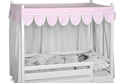 Kinderbett picco 180cm wei aus dem himmelbett wird ein for Stoffhimmel kinderzimmer