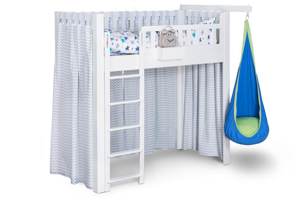 der vorhang listo chevron blau f r kinderbetten kinderzimmer. Black Bedroom Furniture Sets. Home Design Ideas