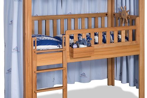 Hochbett Vorhang LISTO blau mit Stickerei / Kinderbetten SALTO München