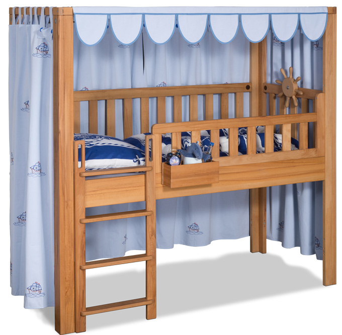 der vorhang listo blau bestickt mit segelbooten kinderzimmer. Black Bedroom Furniture Sets. Home Design Ideas