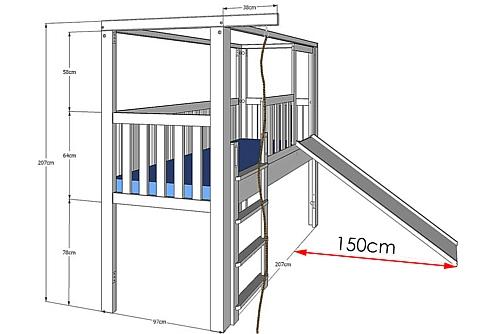 Umbausatz für Kinderbett LISTOflex zum Bett mit Rutsche / SALTO Kindermöbel München