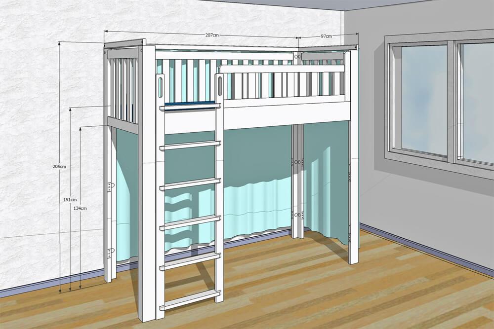 Kinderbett LISTO-flex Hochbett CAD
