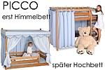 das mitwachsende Kinderbett Picco aus Buchenholz ist erst ein Himmelbett und wird später zum Hochbett. Hersteller: SALTO Kindermöbel, München