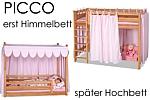 das mitwachsende Kinderbett 180cm aus massivem Buchenholz ist erst ein Himmelbett und später ein Hochbett. Hersteller: SALTO - Möbel für Kinder in München