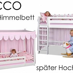 das weiß lackierte mitwachsende Kinderbett Picco ist erst ein Himmelbett und wird später zum Hochbett