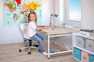 Kinderschreibtisch mit weisser Platte und Schublade - ähnlich Eiermann-Schreibtisch SALTO München