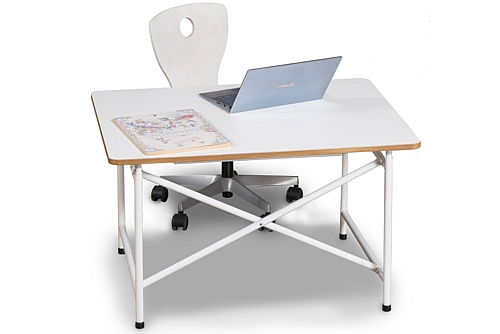 Kinderschreibtisch mit weisser Platte und Schublade / ähnlich Eiermann-Schreibtisch / SALTO Kindermöbel / München
