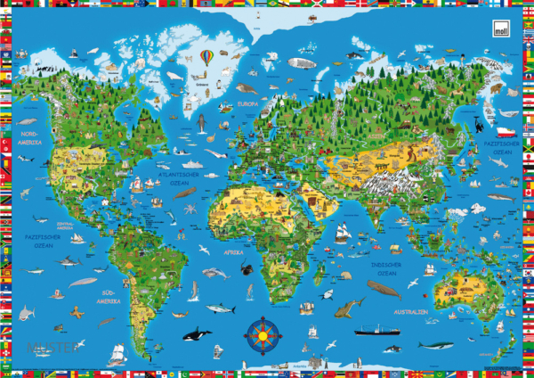 Kinderschreibtisch Schreibunterlage MOLL Weltkarte / Kindermöbel SALTO München