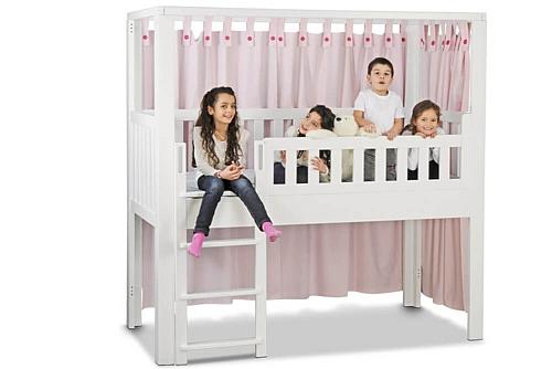 mitwachsendes Kinderbett LISTO-flex aus weiß lackiertem Buchenholz: Spielbett-Höhe