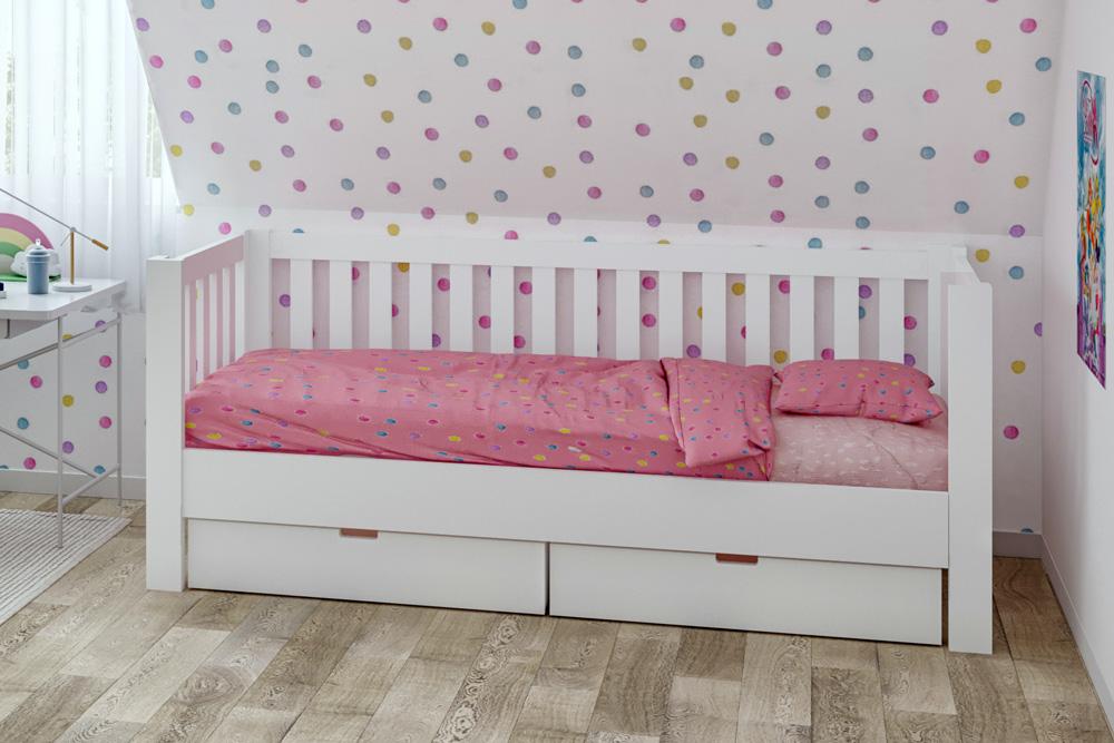 weiß lackiertes Kinderbett Listo mit Gästebett, aus Buche. SALTO Kindermöbel in München