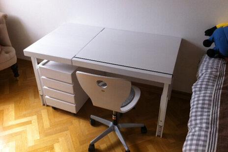 Kinder-Schreibtisch ZIGGY comfort, weiß lackiertes Buchenholz